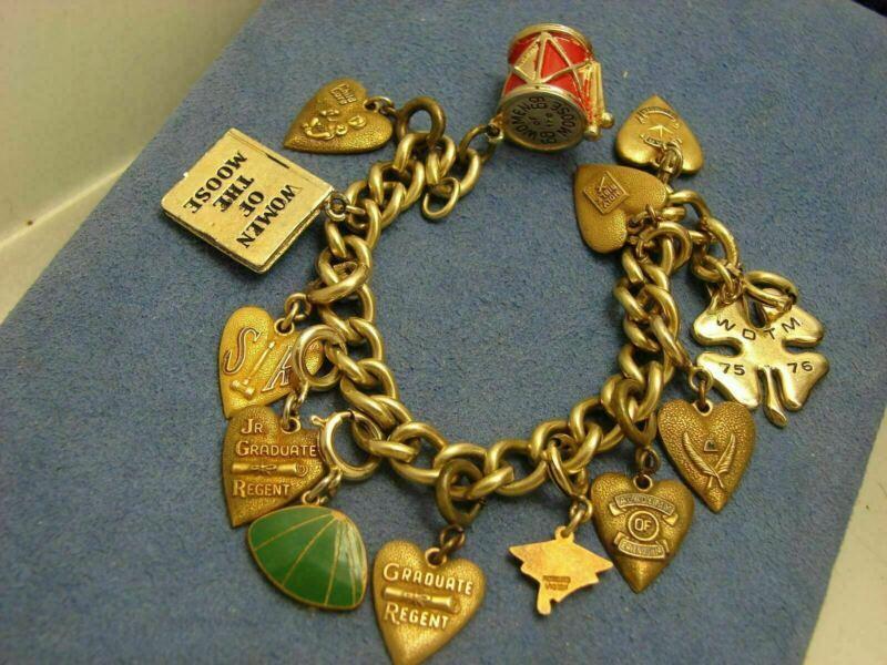Morgans Gold Filled & Enamel Women of the Moose Heart & School Charm Bracelet