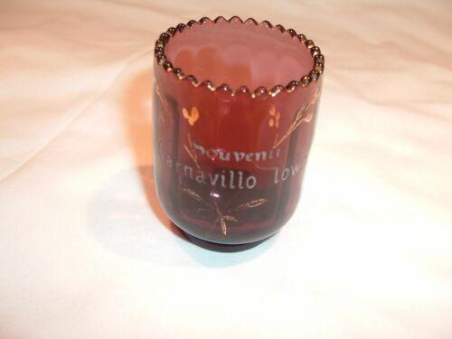 Garnavillo Iowa Souvenir Amethyst Glass Toothpick Sawtooth Gold Highlights