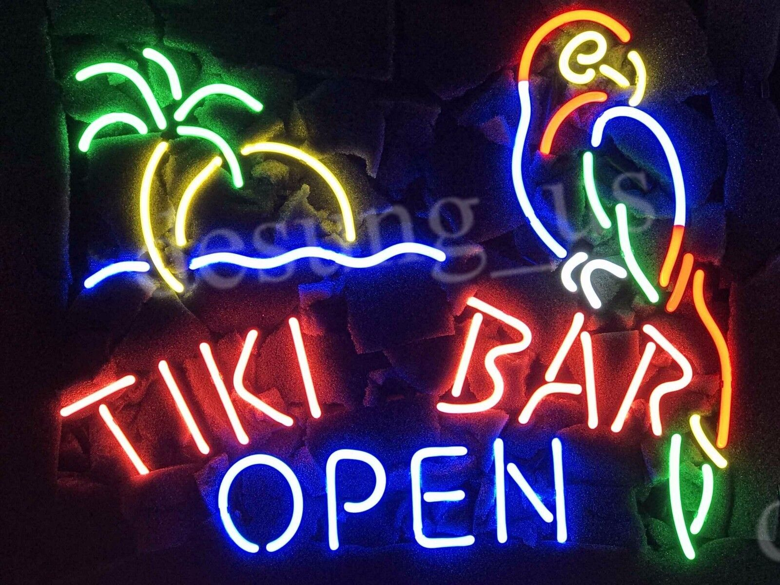 """New Tiki Bar Open Parrot Palm Tree Beer Neon Sign 20""""x16"""""""