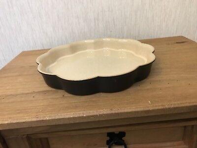 Denby Dark Green Fluted Flan Pie Baking Flower Shaped Dish vgc Green Pie Dish