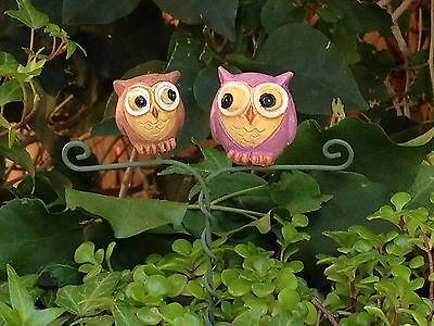 Miniature Dollhouse FAIRY GARDEN ~ GLOW in the DARK Double Owl Pick ~ NEW