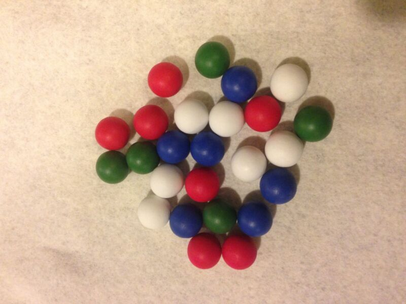 wood marbles - white, blue, red, and green in lots of 100