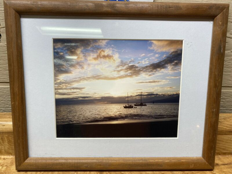 Sailboat Sunset Clouds Sea Ocean Picture Boat, Matted, Framed 9 x 8