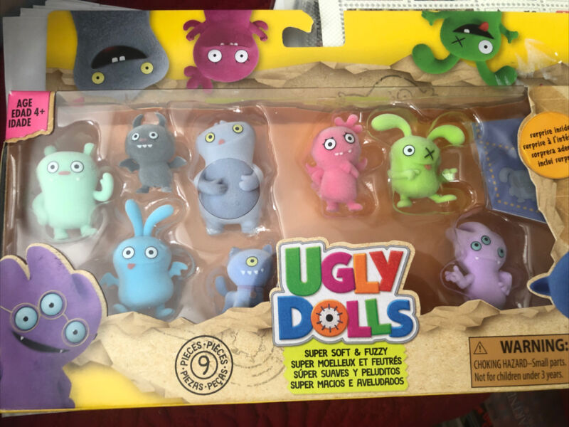UGLY DOLLS SUPER SOFT & FUZZY SET OF 9 WITH SURPRISE INSIDE NEW