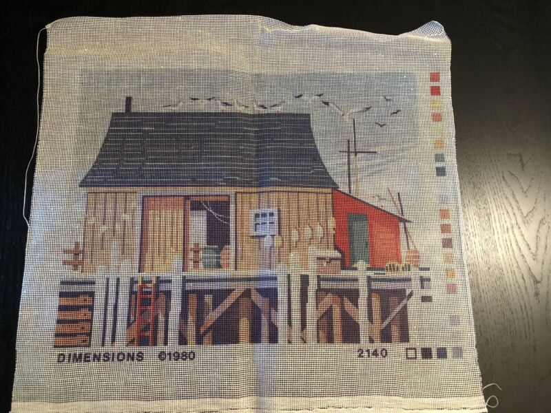 Vintage Needlepoint Canvas 70s Large Wharf Fish Seashore Dock Seagulls Ocean