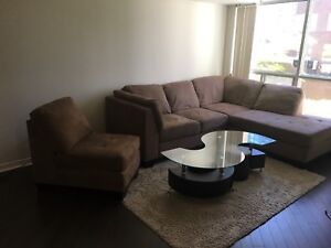 Couch, coffee table, carpet