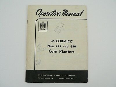 449450 Corn Planters Owners Manual Set Up Troubleshoot Mccormick Deering 1958
