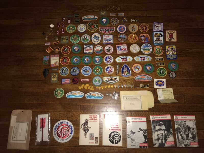Boy Scouts Of America Lot Of 125+ Patches Pins Book Order Of The Arrow 1970 1980