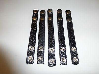 Leather Duty Belt Basket Weave Belt Keepers Silver Double Snaps 5