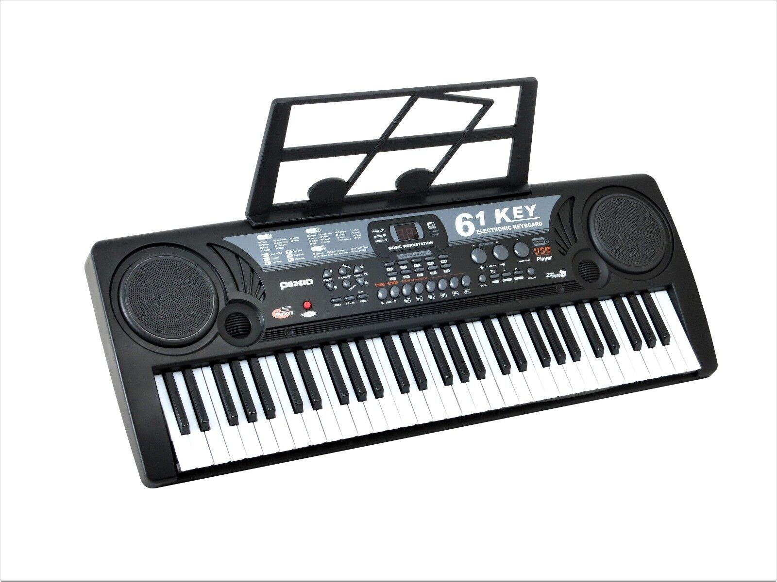 Plixio 61 Key Electronic Music Keyboard Piano with USB & MP3