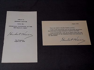 Vintage Herbert Hoover Centennial Convention To Republician Party Address 1956