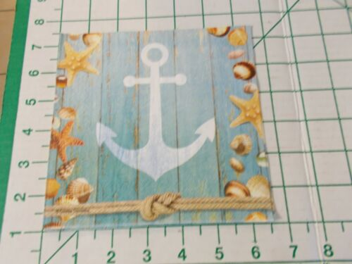 """Two Decorative Luncheon Napkins for Decoupage """"Seaside Anchor"""""""