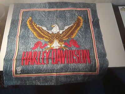 VTG HARLEY DAVIDSON MOTORCYCLE BANDANA BALD EAGLE AMERICAN MADE 1903 DENIM LOOK