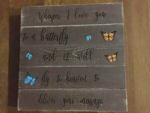 Whisper I love you to a butterfly heaven remembrance plaque