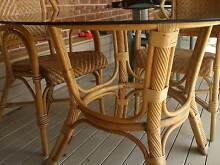 CANE FURNITURE SMOKY GLASS TABLE TOP WITH 4 CANE CHAIRS Umina Beach Gosford Area Preview