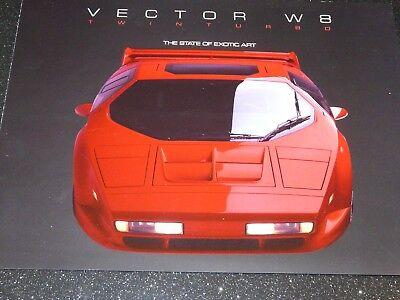 VECTOR W8 BROCHURE ( 6 LITRE V8 US SUPERCAR BUILT 1990-93) VERY RARE. EXC