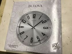 Bulova C4646 13 in. H x 13 in. W Wall Clock in Brushed Stainless Steel Finish