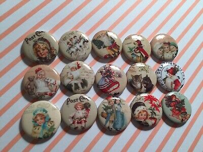 Vintage Victorian Shabby Christmas Chic Pinback Button Pins Badge party favor Christmas Pin Buttons