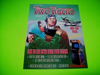 Bally Midway TWO TIGERS Original 1984 NOS Video Arcade Game Flyer War Time Pilot