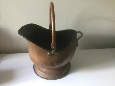 Vintage COPPER COAL SCUTTLE PLANTER with brass handles