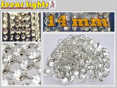 6.5ft CHANDELIER LIGHT CRYSTALS DROPLETS 100 CUT GLASS BEADS WEDDING DROPS 14mm