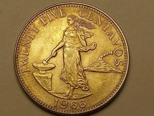 1966- Philippines 25 Centavos. UNC