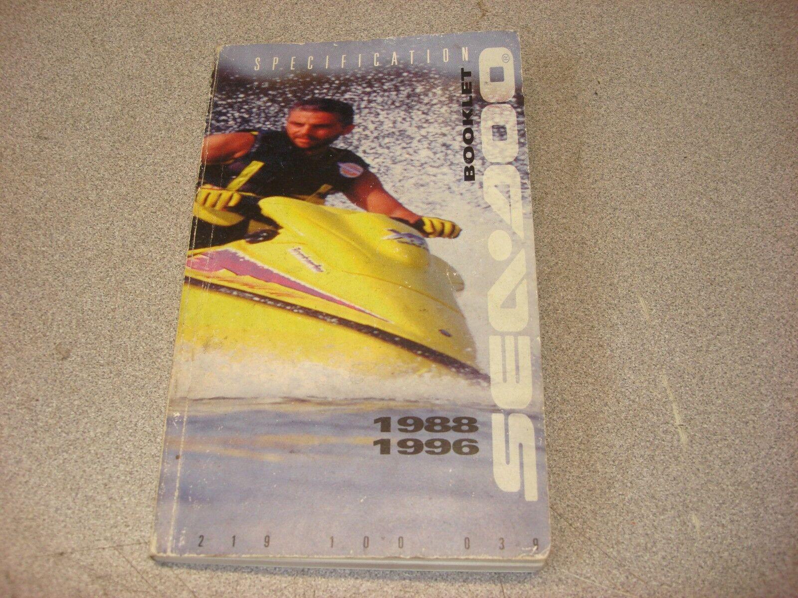 SEA DOO OEM SPEC MANUAL SP I X HX GT I X S GSX 1988-1996 SPECIFICATION SERVICE