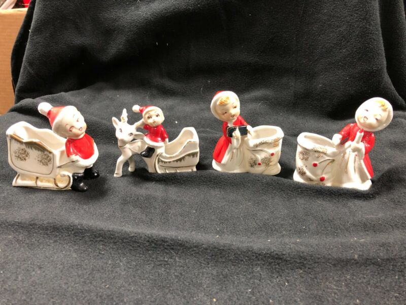 Four Fine Quality Vintage Sonsco Ceramic Christmas figurines (Japan)