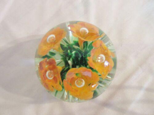 Vintage 1935 GIBSON Orange Trumpet Flower Glass Paperweight