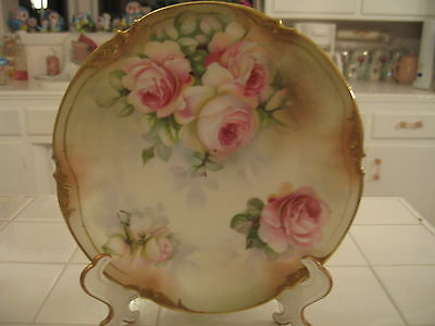 ANTIQUE ERDMANN SCHLEGELMILCH ES PRUSSIA PLATE WITH PINK ROSES AND GOLD ACCENTS