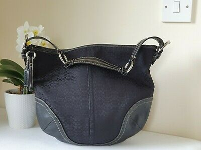 Coach Black Leather&monogrammed Fabric Signature Logo Slouch Hobo Shoulder Tote