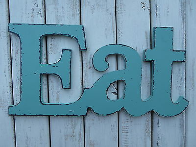 Eat   Aqua Teal Wood Distressed Letter Kitchen Cafe Diner Sign Wall Decor