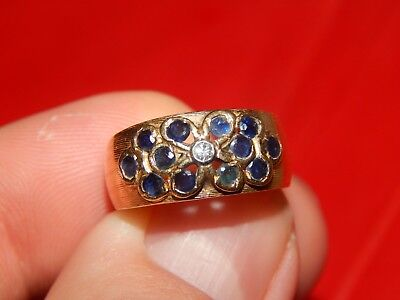14K YELLOW GOLD BEZEL SET DIAMOND & SAPPHIRE FLORAL PATTERN BAND RING SIZE 7 14k Yellow Bezel Set