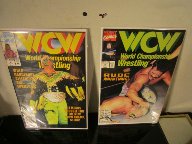 WCW Marvel Comics #4-5 lot Sting Rick Rude bagged boarded~