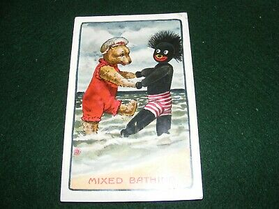 VINTAGE POSTCARD ART SEASIDE HOLIDAY HUMOUR TOYS TEDDY BEAR BLACK DOLL BATHING