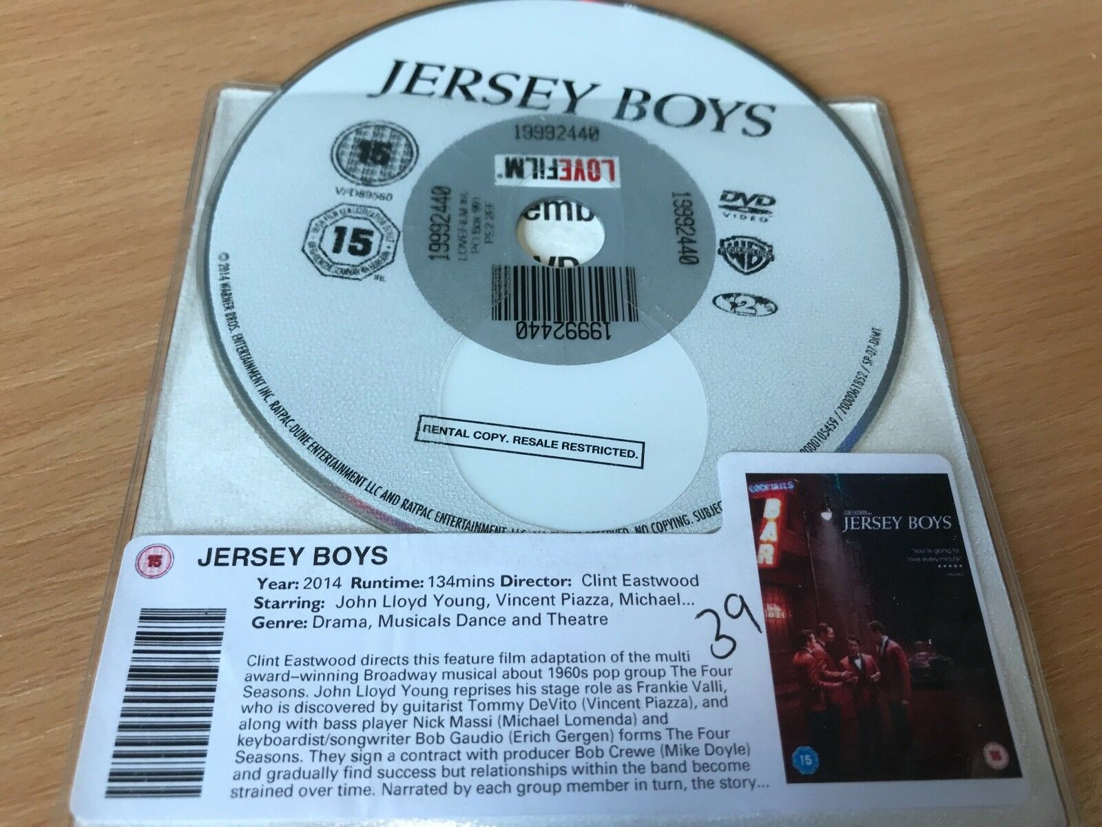 Jersey Boys DVD - DISC ONLY