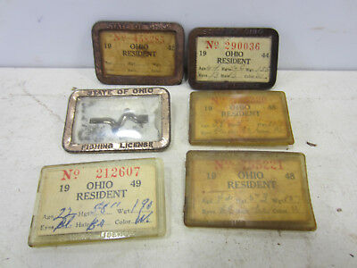 6 1940's Ohio Resident Fishing License & Holders