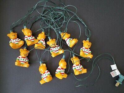 Vtg Teddy Bear Christmas String Lights Blow Mold Hanging RV Camping Patio Tiki