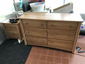 Wooden children's  dresser and side table set