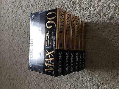 Set Of 6 New Sealed TDK MA-X 90 Cassettes Tapes Made in Japan