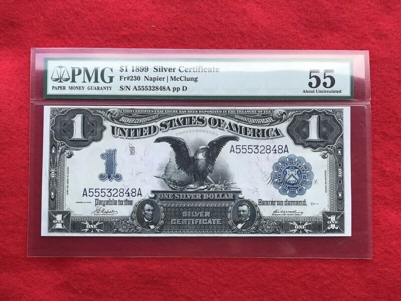 """FR-230 1899 Series $1 Silver Certificate $1 """"Black Eagle"""" *PMG 55 About Unc*"""