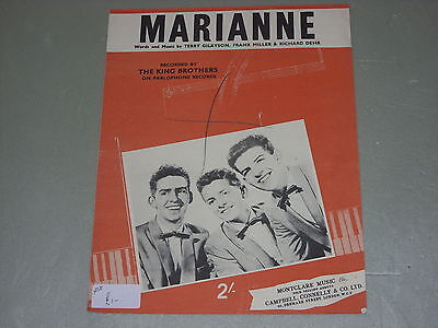 The King Brothers: Marianne    Sheet Music