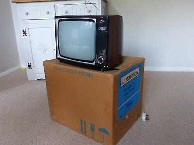 Vintage Retro Ferguson Television Black & White TV 1960's 1970's Model: 3840 box