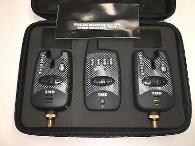 2 x Wireless Bite alarms & Receiver. Running LED's. Volume, LED, Carp, Coarse