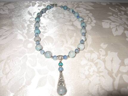 Handmade Blue  Agate gemstone necklace