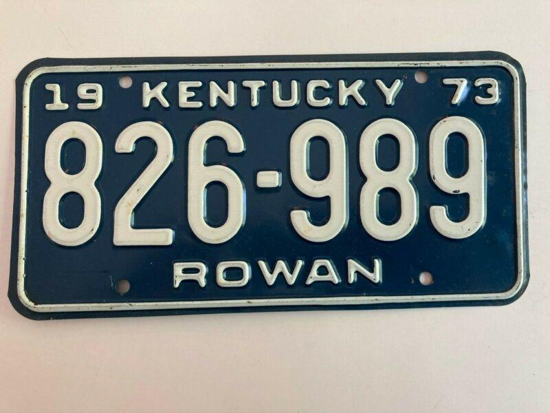 1973 Kentucky License Plate Rowan County All Original