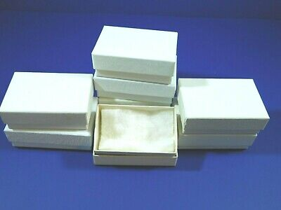 Jewelry Gift Boxes Lot Of 36 White With Cotton 2.75 X 1.75 X 1