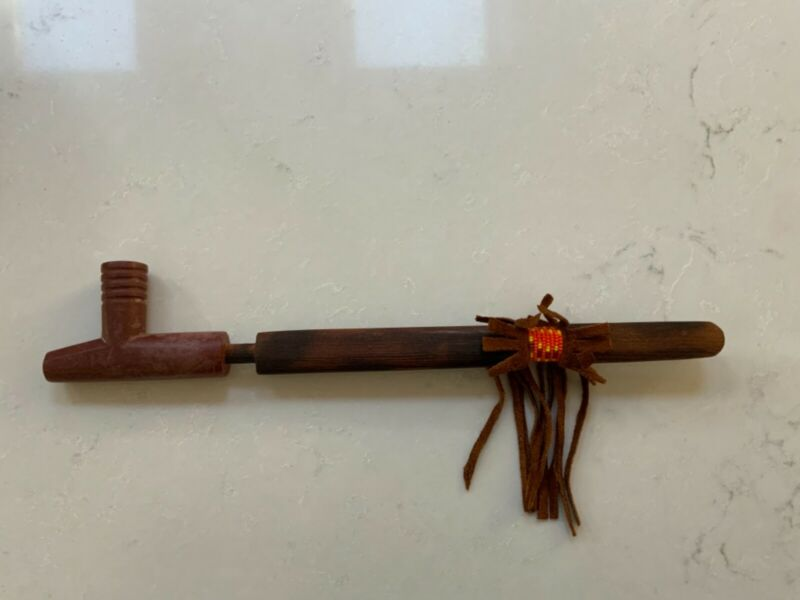Native American Pipestone Peace Pipe by Ray RedwingSIOUX TRIBE - unused