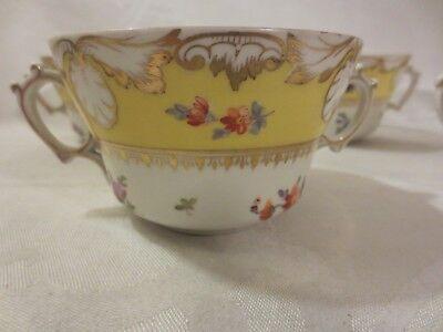 ANTIQUE DRESDEN RICHARD KLEMM SET OF 5 DOUBLE HANDLED CUPS