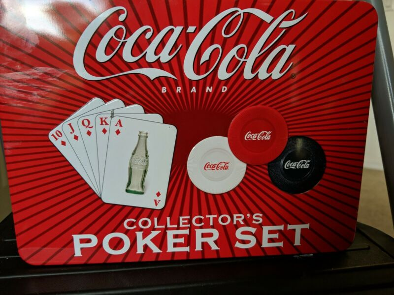 Coca Cola Poker Set Complete Cards and Poker Chips with Collector Tin open box